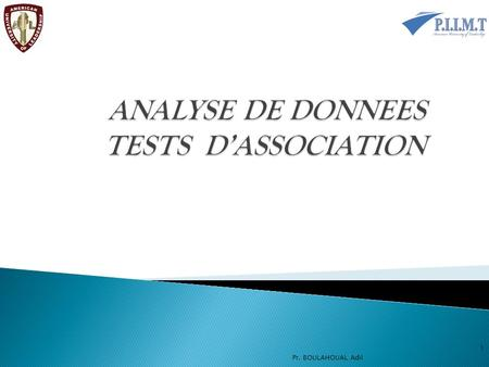 ANALYSE DE DONNEES TESTS D'ASSOCIATION