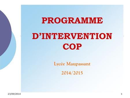 PROGRAMME D'INTERVENTION COP