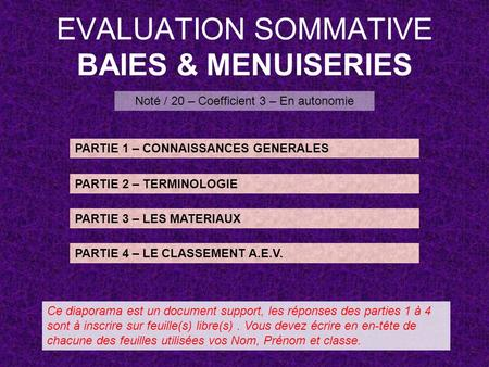 EVALUATION SOMMATIVE BAIES & MENUISERIES Noté / 20 – Coefficient 3 – En autonomie PARTIE 1 – CONNAISSANCES GENERALES PARTIE 2 – TERMINOLOGIE PARTIE 3 –