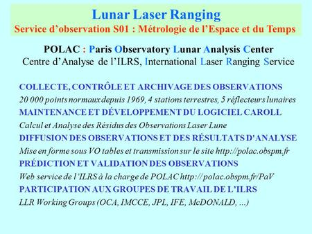 POLAC : Paris Observatory Lunar Analysis Center