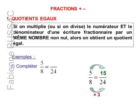 Fabienne BUSSAC 15 FRACTIONS + – 1. QUOTIENTS EGAUX