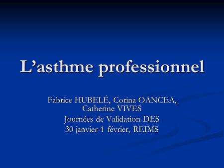 L'asthme professionnel