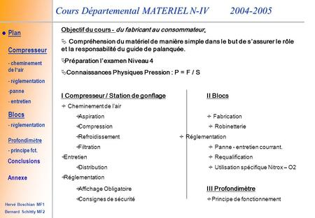 Plan Conclusions Hervé Boschian MF1 Bernard Schittly MF2 Cours Départemental MATERIEL N-IV2004-2005 Compresseur - cheminement de l ' air - r é glementation.