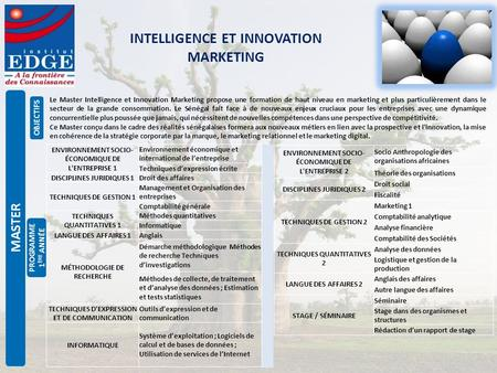 INTELLIGENCE ET INNOVATION MARKETING OBJECTIFS PROGRAMME 1 È RE ANN É E MASTER Le Master Intelligence et Innovation Marketing propose une formation de.