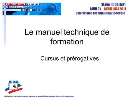 Le manuel technique de formation
