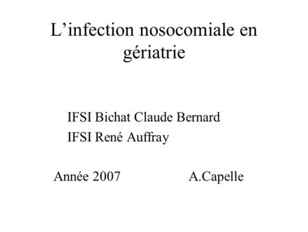 L'infection nosocomiale en gériatrie