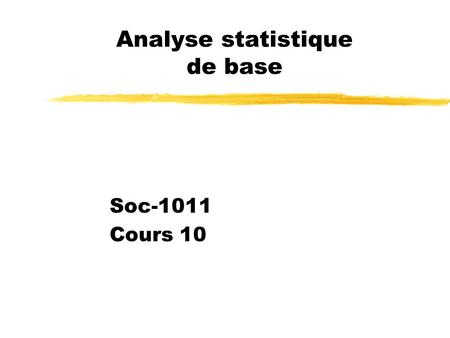 Analyse statistique de base