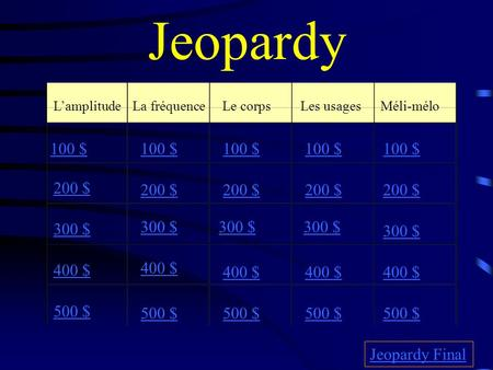 Jeopardy L'amplitudeLa fréquenceLe corpsLes usages Méli-mélo 100 $ 200 $ 300 $ 400 $ 500 $ 100 $ 200 $ 300 $ 400 $ 500 $ Jeopardy Final.