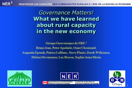 1 Governance Matters! What we have learned about rural capacity in the new economy Groupe Gouvernance de NRE 2 Bruno Jean, Peter Apedaile, Omer Chouinard,
