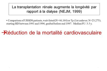 La transplantation rénale augmente la longévité par rapport à la dialyse (NEJM, 1999) Comparison of URSDS patients, wait-listed (N=46,164) or Tp (1st cadaver;