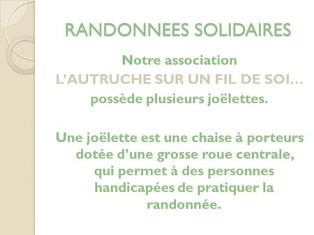 RANDONNEES SOLIDAIRES