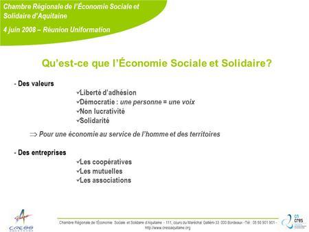 L economie sociale et solidaire en bretagne ppt t l charger - Chambre regionale de l economie sociale et solidaire ...