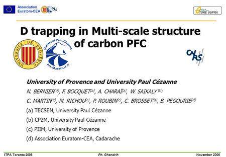 ITPA Toronto 2006Ph. Ghendrih November 2006 TORE SUPRA Association Euratom-CEA D trapping in Multi-scale structure of carbon PFC University of Provence.