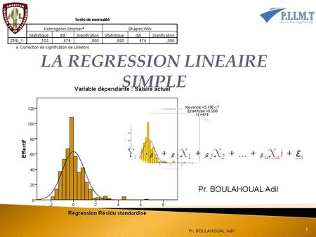 Pr. BOULAHOUAL Adil 1 LA REGRESSION LINEAIRE SIMPLE.