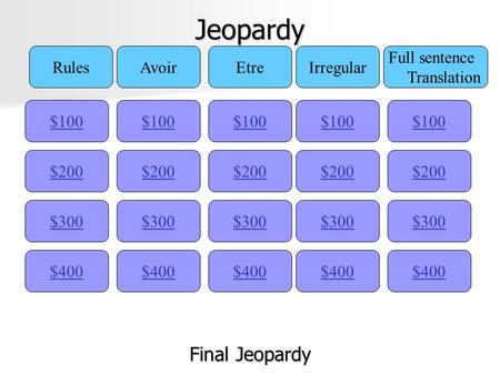 Jeopardy $100 RulesAvoirEtreIrregular Full sentence Translation $200 $300 $400 $300 $200 $100 $400 $300 $200 $100 $400 $300 $200 $100 $400 $300 $200 $100.