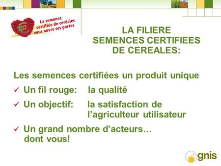 LA FILIERE SEMENCES CERTIFIEES DE CEREALES: