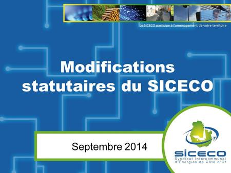 Modifications statutaires du SICECO