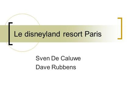 Le disneyland resort Paris