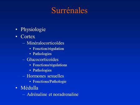 Surrénales Physiologie Cortex –Minéralocorticoïdes Fonction/régulation Pathologies –Glucocorticoïdes Fonctions/régulations Pathologies –Hormones sexuelles.