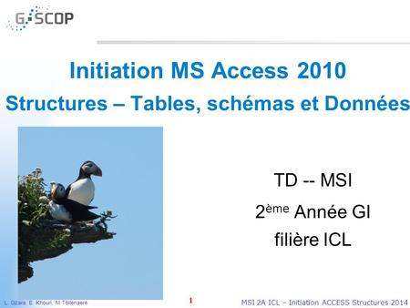 L. Gzara, E. Khouri, M Tollenaere 1 MSI 2A ICL – Initiation ACCESS Structures 2014 Initiation MS Access 2010 Structures – Tables, schémas et Données TD.