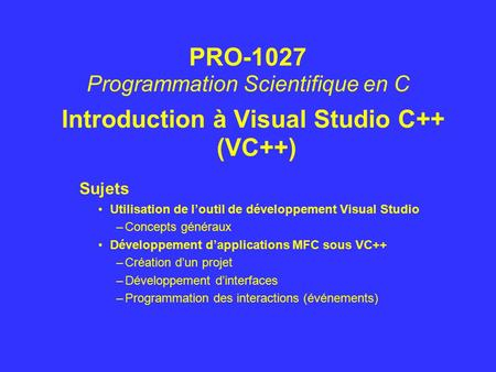 Introduction à Visual Studio C++ (VC++)