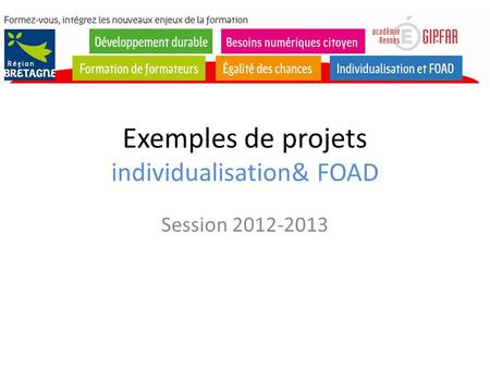 Exemples de projets individualisation& FOAD Session 2012-2013.