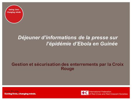 Www.ifrc.org Saving lives, changing minds. Saving lives Changing minds Saving Lives Changing minds Déjeuner d'informations de la presse sur l'épidémie.