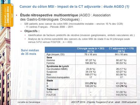 Cancer du côlon MSI - impact de la CT adjuvante : étude AGEO (2)