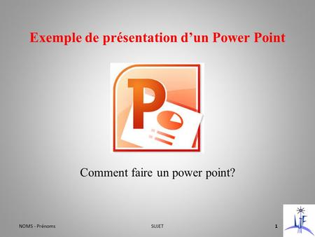 Exemple de présentation d'un Power Point