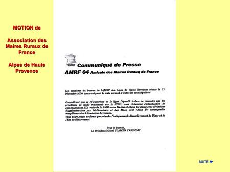 MOTION de Association des Maires Ruraux de France Alpes de Haute Provence SUITE.