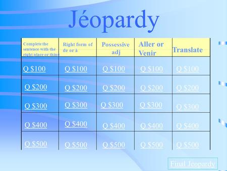 Jéopardy Complete the sentence with the right place or thing Right form of de or à Possessive adj Aller or Venir Translate Q $100 Q $200 Q $300 Q $400.