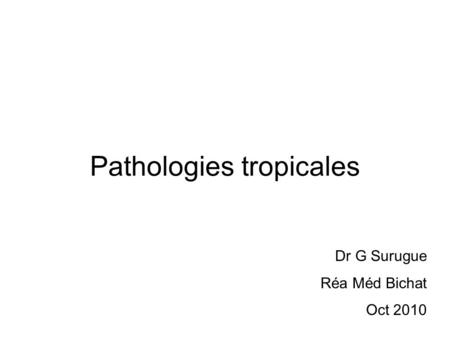 Pathologies tropicales