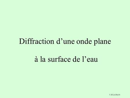 Diffraction d'une onde plane