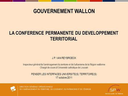 LA CONFERENCE PERMANENTE DU DEVELOPPEMENT TERRITORIAL