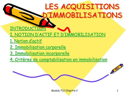 Module 712 Chapitre V1 LES ACQUISITIONS D'IMMOBILISATIONS INTRODUCTION I. NOTION D'ACTIF ET D'IMMOBILISATION I. NOTION D'ACTIF ET D'IMMOBILISATION 1. Notion.