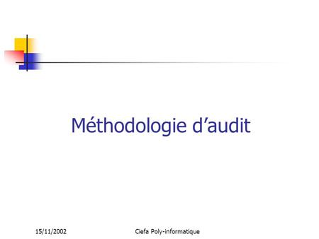 15/11/2002Ciefa Poly-informatique Méthodologie d'audit.