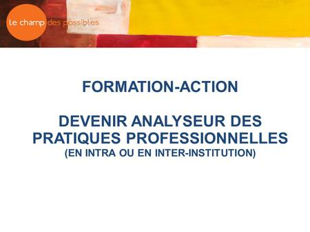 FORMATION-ACTION DEVENIR ANALYSEUR DES PRATIQUES PROFESSIONNELLES (EN INTRA OU EN INTER-INSTITUTION)