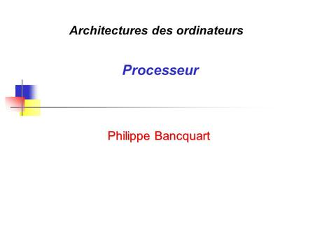 Architectures des ordinateurs