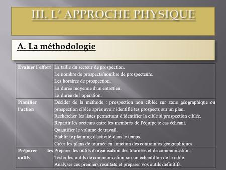 III. L' APPROCHE PHYSIQUE