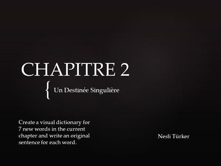 { CHAPITRE 2 Un Destinée Singulière Nesli Türker Create a visual dictionary for 7 new words in the current chapter and write an original sentence for each.