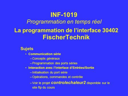 La programmation de l'interface FischerTechnik
