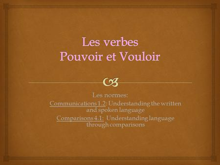 Les normes: Communications 1.2: Understanding the written and spoken language Comparisons 4.1: Understanding language through comparisons.