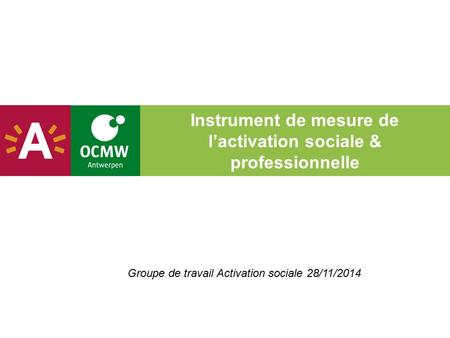 Instrument de mesure de l'activation sociale & professionnelle Groupe de travail Activation sociale 28/11/2014.