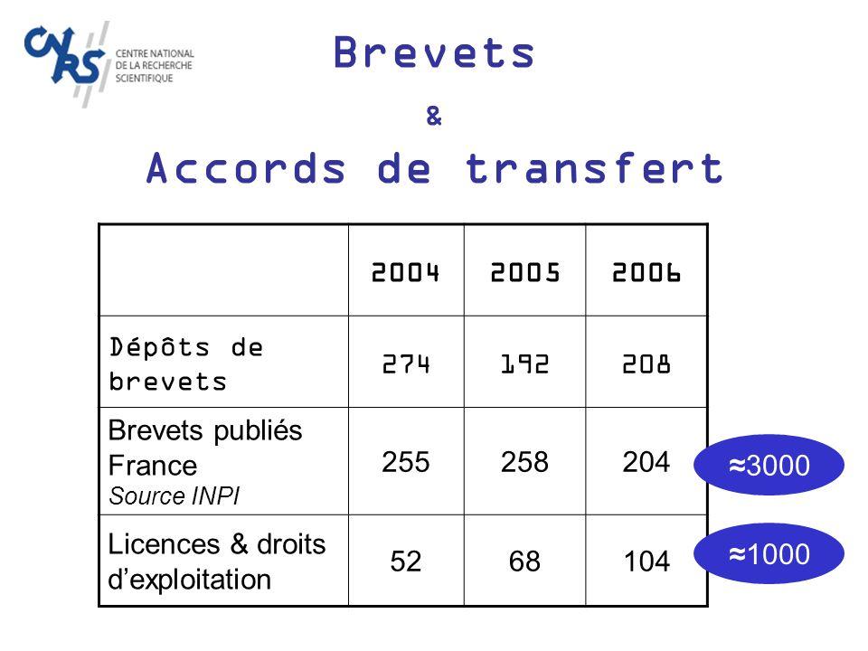 Retours financiers 2006 1000 licences et autres actes avec retour financier potentiel actifs 200 licences et autres actes avec retour financier 60 M de retours financiers 2006 Dont 87% par 1 licence