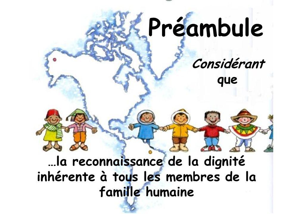 et de leurs droits égaux et inaliénables constitue le fondement de la liberté, de la justice et de la paix dans le monde.