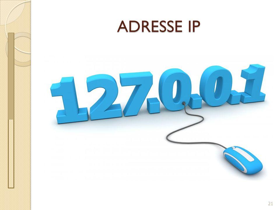 Adresse IP 22 IP : Internet Protocol Protocole : Ensemble de règles à respecter pour une bonne communication Adresse IP : numéro d identification attribué de façon permanente ou provisoire à chaque appareil connecté à un réseau informatique.
