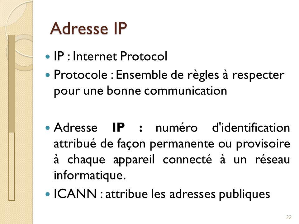 Adresse IP 23 Norme IPv4 : 4 valeurs comprises entre 0 et 255 séparées par un point : 172.20.1.32 Soit environ 4 milliards dappareils Ce nest pas suffisant !!!.