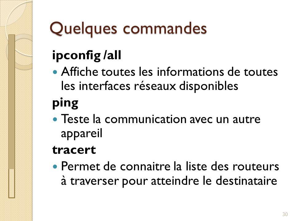 Exercices 31 Affichage des informations réseau Test de communication Vérification de la route empruntée Questions/réponses