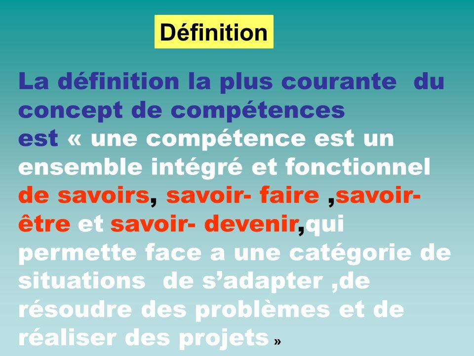 Sandra Bélier propose cette définition de la compétence : la compétence permet d agir et/ou de résoudre des problèmes de manière satisfaisante dans un contexte particulier, en mobilisant diverses capacités de manière intégrée »