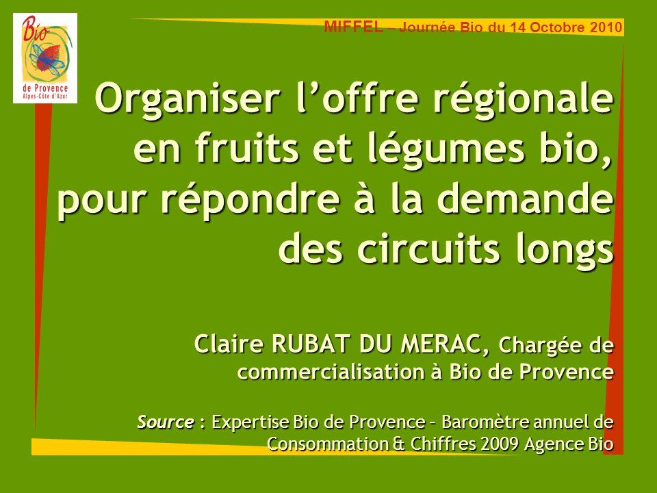 Consommation et Distribution en PACA 3ème bassin de consommation bio (4,9 M habitants) juste derrière Ile de France et Rhône-Alpes.